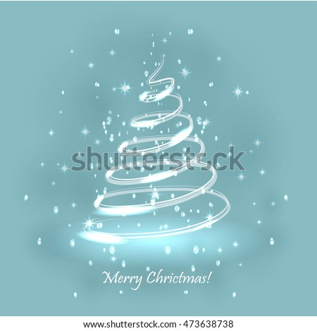 Magic Christmas Tree Light Blue Background Stock Vector 473638738  - Magic Christmas Tree