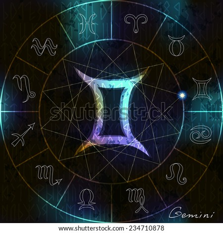 Magic circle with Gemini astrological symbol in center - stock vector