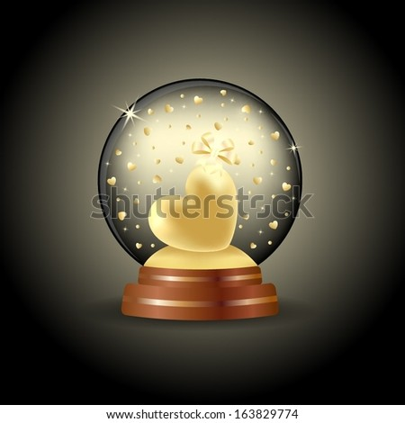 Magic crystal ball with golden heart inside