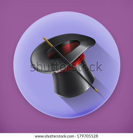 Magic cylinder hat, long shadow vector icon - stock vector