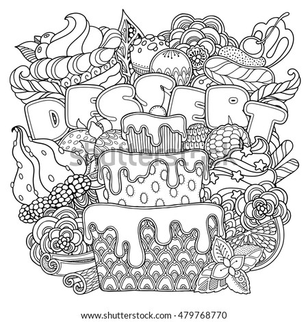 dessert coloring pages - mis tery 39 s portfolio on shutterstock