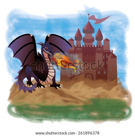 Magic dragon and old castle, vector illustration - stock vector