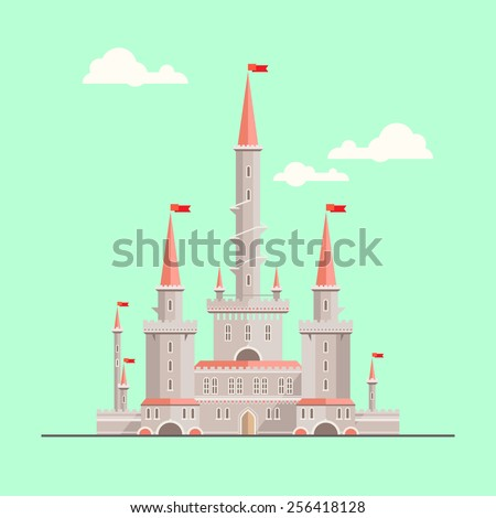 Magic fantasy castle - flat style illustration. Can be used in books, game background, web design, etc. - stock vector