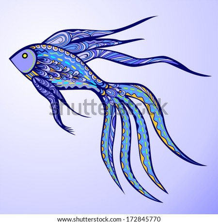 Magic Fish. Abstract patterned blue neon fish. Vector elements are grouped.