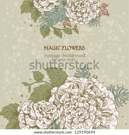 Magic flowers dream vintage background - stock vector