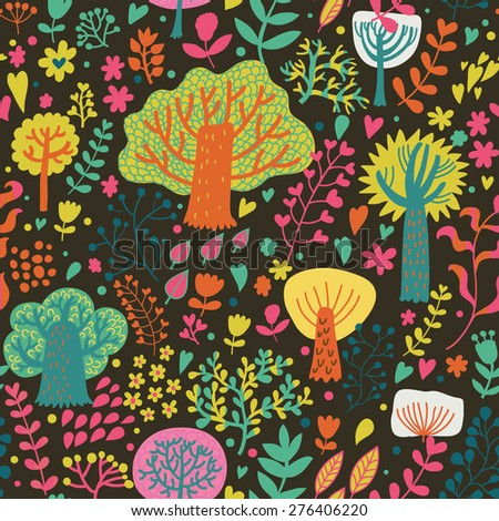 Magic forest in cartoon style in bright summer colors. Seamless pattern can be used for wallpaper, pattern fills, web page background,surface textures. Lovely seamless natural background - stock vector