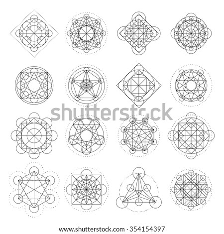 Magic geometry signs collection. Runes and alchemy mystical symbols. Set for game design, sprites for game user interface. Vector Asset.