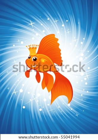 magic goldfish on shining blue background - stock vector