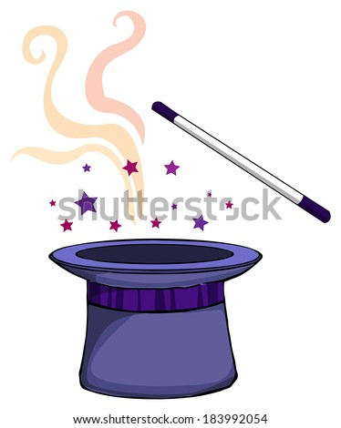 Magic hat, and a wand, vector illustration  - stock vector