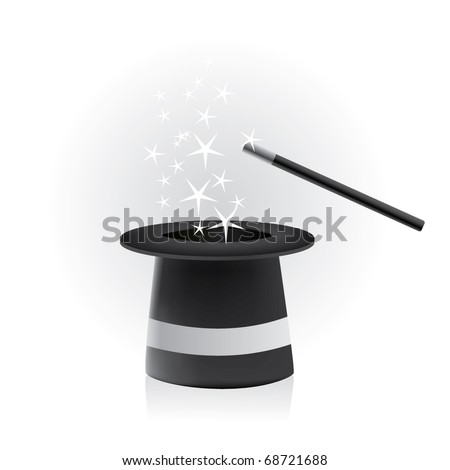 Magic hat and wand - vector