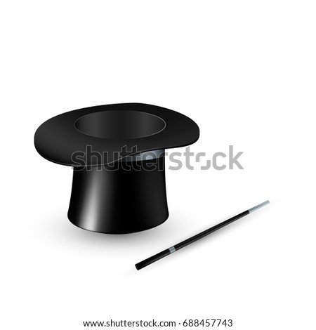Magic hat and wand. Vector illustration isolated on white