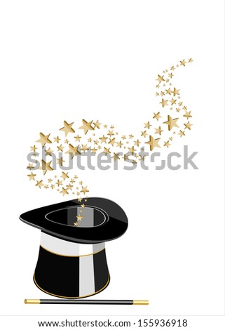 Magic hat and wand with sparkles. vector - stock vector