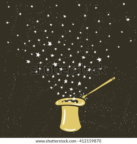 Magic Hat Background with stars dust and magic wand. Vector inspiring design. - stock vector