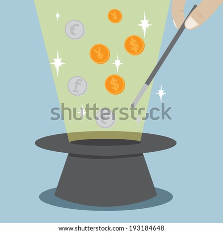 Magic Hat Coin Trick Vector - stock vector