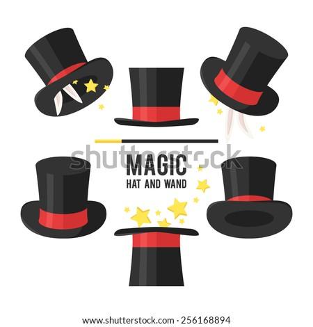Magic hat set. Vector illustration. - stock vector