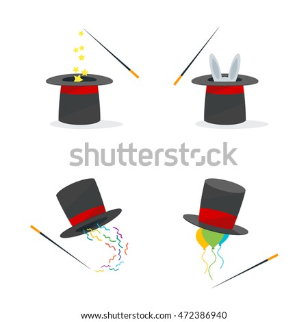 Magic Hat Set wand and Rabbit. Cartoon Flat Design Style four magician hats. Retro wizard cylinder Vector illustration