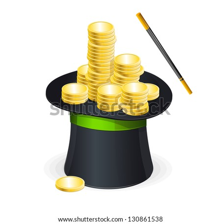 Magic hat vector and gold coins - stock vector