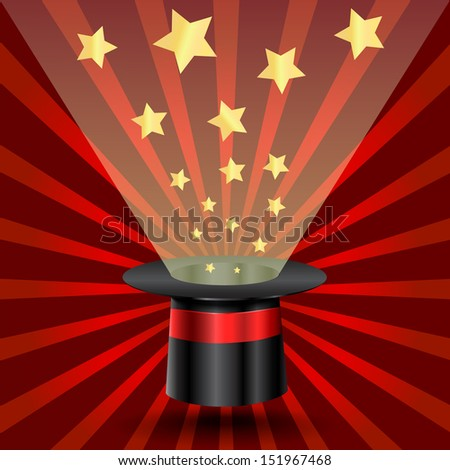 Magic hat with stars on rays background. Vector illustration - stock vector