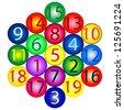 Magic Hexagon: amount of any straight path is 38 - stock vector