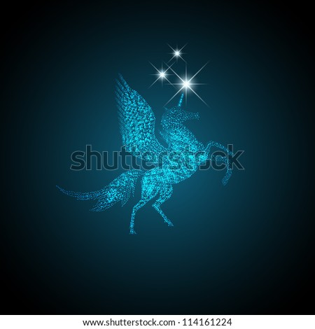 Magic Holiday Pegasus Which Grants Wishes - stock vector