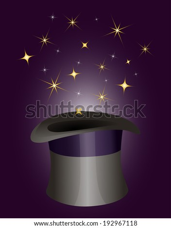Magic illusionist's hat with sparkling magic stars
