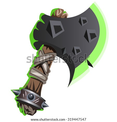 magic iron axe with wooden handle on white background