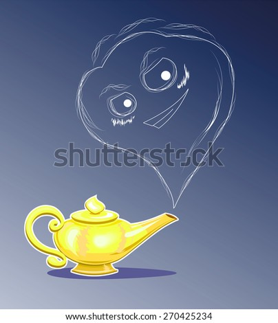 Magic lamp and wish-fulfilling spirit. Vector. (Brush Included) - stock vector