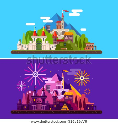 Magic landscape with ancient medieval castle in mountains. Day and night. Festival, carnival, fireworks, lights. Vector flat illustration - stock vector