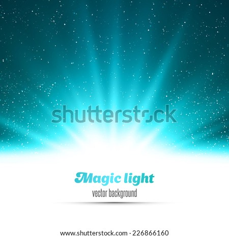 Magic light holiday background. Blue burst and snow - stock vector
