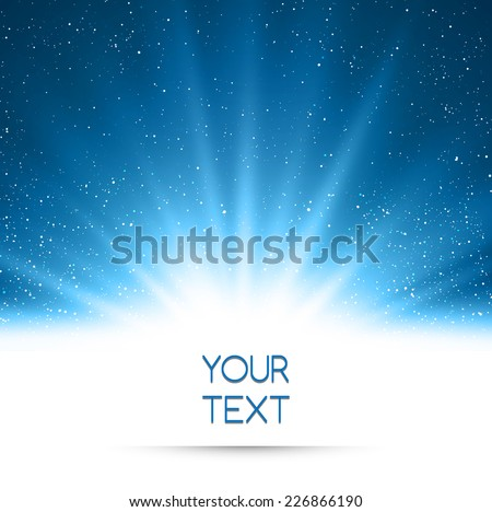 Magic light holiday background. Blue burst with snow - stock vector