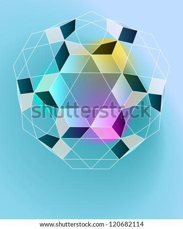 magic lighting geometry card vector template - stock vector