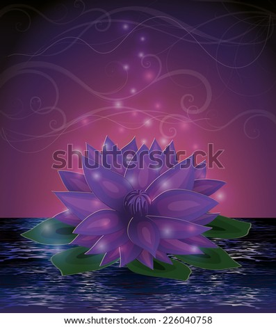 Magic lotus flower card, vector illustration - stock vector