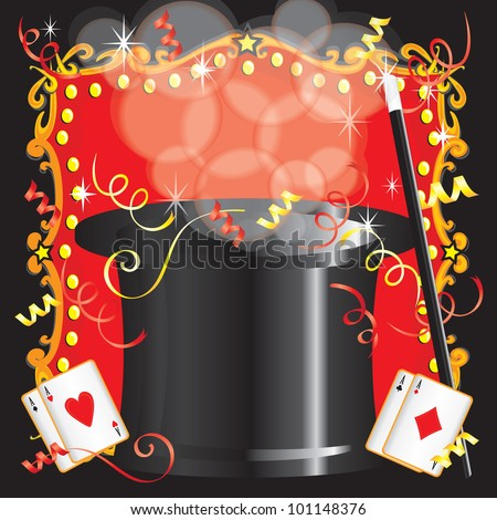 Magic Magician Birthday Party Invitation Colorful Stock Vector HD