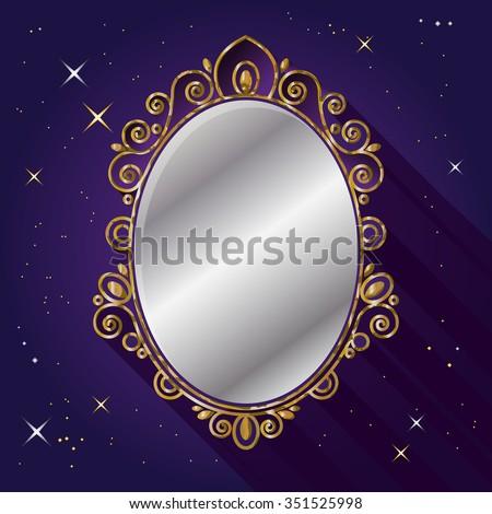 Magic Mirror. Snow White fairy tale symbol. - stock vector