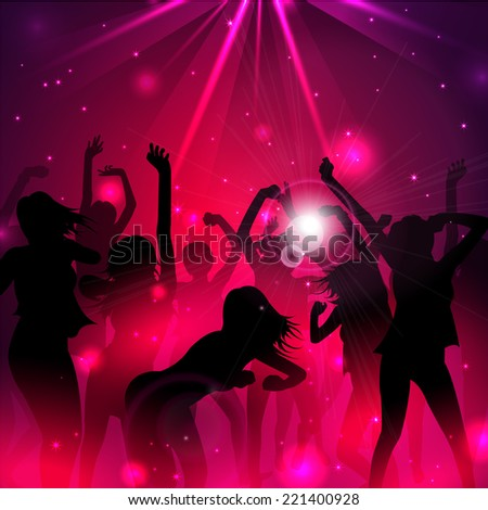 Magic Music Background with silhouettes of dancing girls  - Vector - stock vector