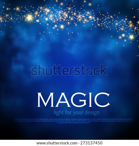 Magic night background with stars. Vector illustration - stock vector