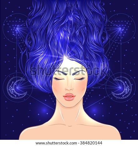 Magic night fairy. Hand drawn portrait of a beautiful  shaman woman. Alchemy, religion, spirituality, occultism, tattoo art. Isolated vector illustration. . Coloring book page for adults. - stock vector
