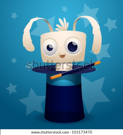 magic rabbit, vector 2 - stock vector