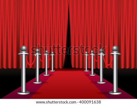 Magic red carpet loop with red curtain - stock vector