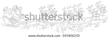Magic reindeers flying Santa Claus with a sack of gifts in his sleigh on Christmas eve, a black and white vector illustration