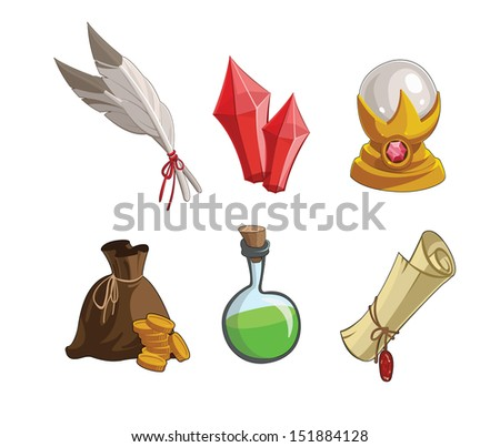 Magic's game icons for applications:crystals, ball, bag, gold, poison,  scroll - stock vector