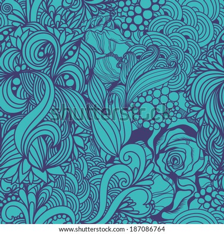 Magic seamless pattern with abstract flowers and feathers. Endless background. Ethnic seamless pattern. Vector backdrop. Summer template. Use for wallpaper,pattern fills, web page background.