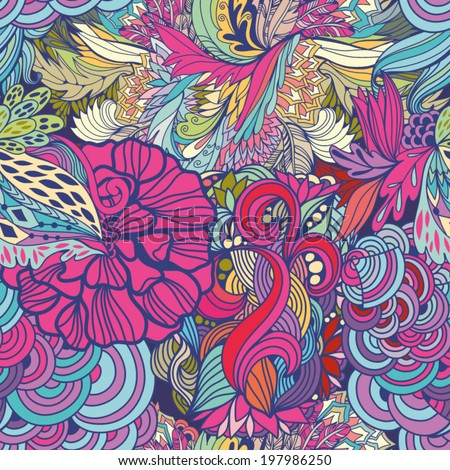 Magic seamless pattern with abstract flowers and feathers. Endless background. Ethnic seamless pattern. Vector backdrop.  - stock vector
