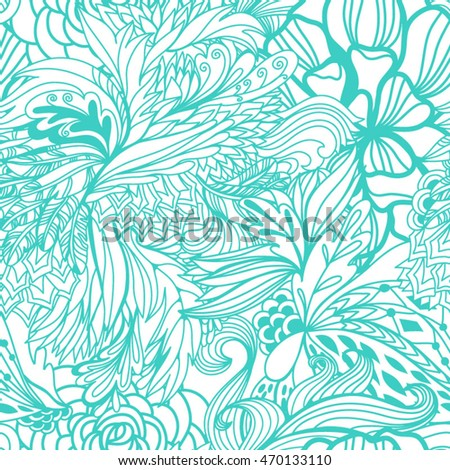 Magic seamless pattern with abstract flowers and feathers in mint colors