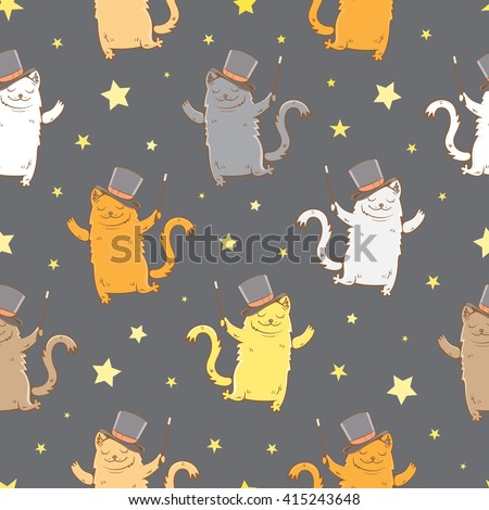 Magic seamless pattern with cute cartoon cats in hats magician with a magic wand on dark background. Children's illustration. Vector image. - stock vector