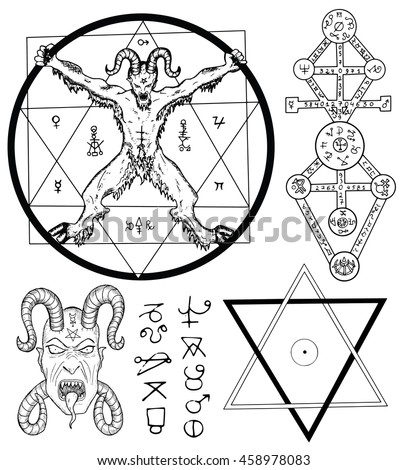 Magic Set With Devil Satan Pentagram And Mystic Symbols Collection Of Sketch Illustrations