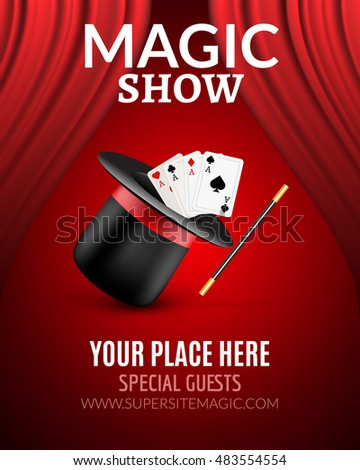 Magic Show poster design template. Flyer design with magic hat and curtains.