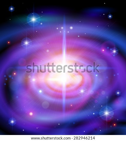 Magic Space - Big Galaxy, stars and constellations, nebulae and galaxies, lights. Vector illustration / Eps10 - stock vector