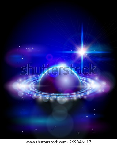 Magic Space - big star and blue planet, stars and constellations, nebulae and galaxies, lights. Vector illustration / Eps10