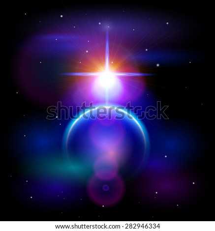Magic Space - Blue Planet & Big Star, stars and constellations, nebulae and galaxies, lights. Vector illustration / Eps10 - stock vector